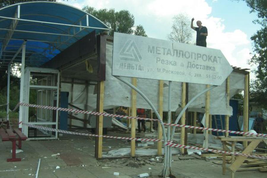Незаконный торговый павильон снесли в Твери