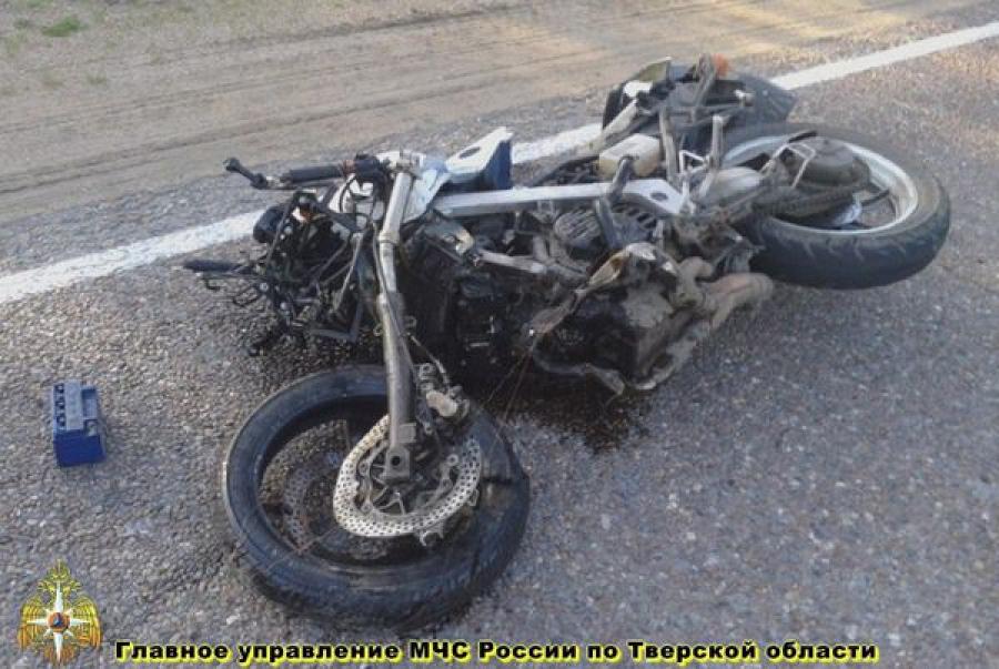 Легковушка и мотоцикл столкнулись на автодороге «Зубцов — Крупцово»