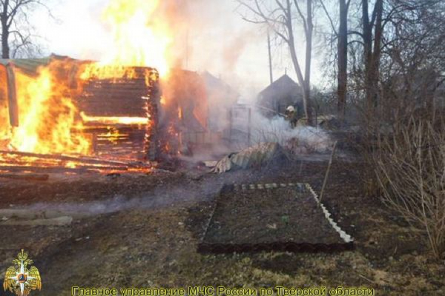 Во время пожара в Вышневолоцком районе пострадал человек