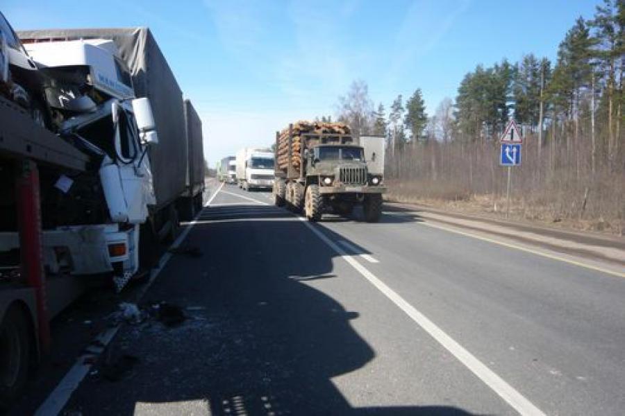 На трассе М-10 столкнулись три грузовика
