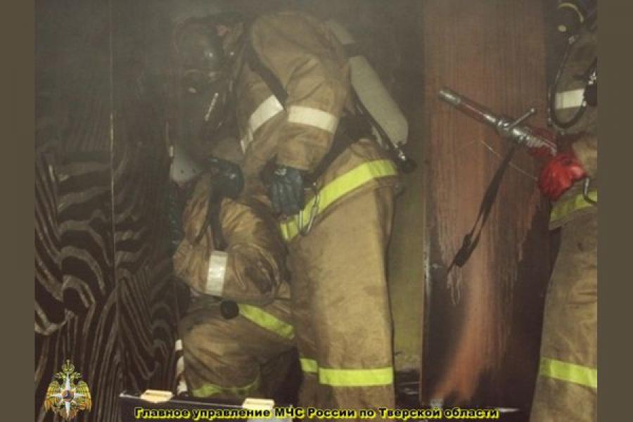 Человек пострадал на пожаре в Твери