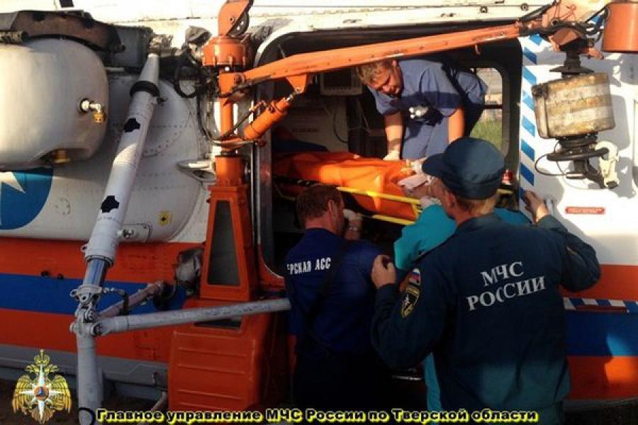 Пострадавшего в ДТП доставили из Удомли в Тверь на вертолете