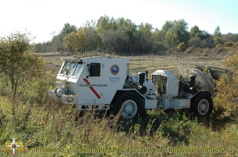 При разминировании территории Ржевского плацдарма спасатели МЧС обезвредили 14 мин и снарядов