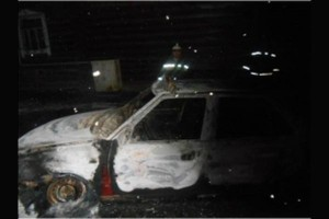 Автомобиль, сгоревший в Твери