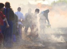 Тушение пожара на Твесркой заставе