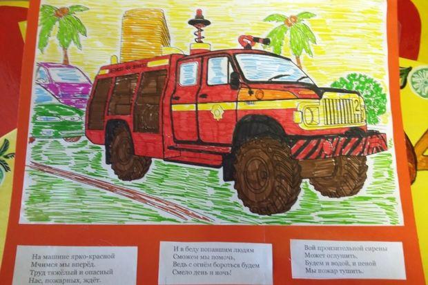 детский рисунок_пожарная машина