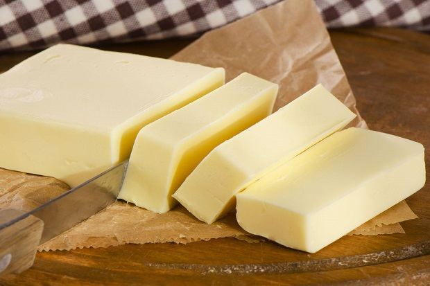 Butter on   cutting board.